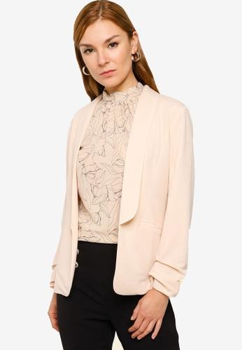 ZALORA WORK beige Knitted Jacket FBDF6AA0F3CD76GS_1