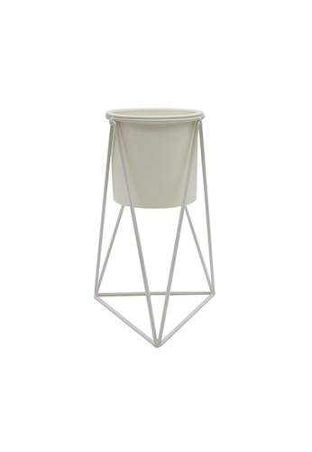 At Home beige Grace Geo Cream Metal Planter with 1 pot 3E5BEHL5312D0BGS_1