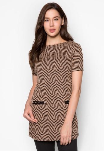 zalora taiwan 時尚購物網雙口袋提花長版上衣, 服飾, 服飾