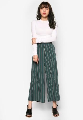韓式風格條紋闊esprit mongkok管九分褲, 服飾, 印花時代