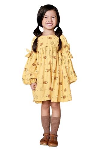 Ribbons+Wheels yellow Laila & Lyra Jillian Dress Hedgehog Print E6571KA89CF35EGS_1