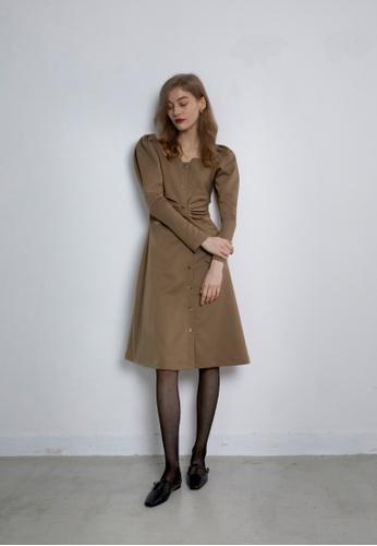 TAV beige [Korean Designer Brand] Square neck button long Dress - Beige BC66AAAFE0801AGS_1