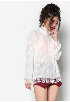 【ZALORA】 韓式時尚流蘇褶飾透視上衣