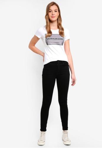 Calvin Klein white A-Instit Organza Log - Calvin Klein Jeans BAFD1AAD2B2D64GS_1