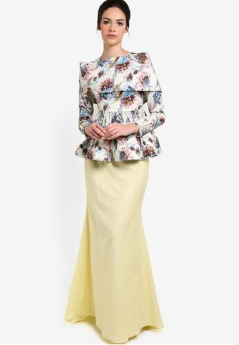 Calacara yellow and multi Sophia Grace Peplum Kurung CA563AA89ZCOMY_1