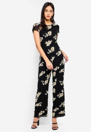 Bardot black and multi Rina Floral Jumpsuit C518DAA376BA84GS_1