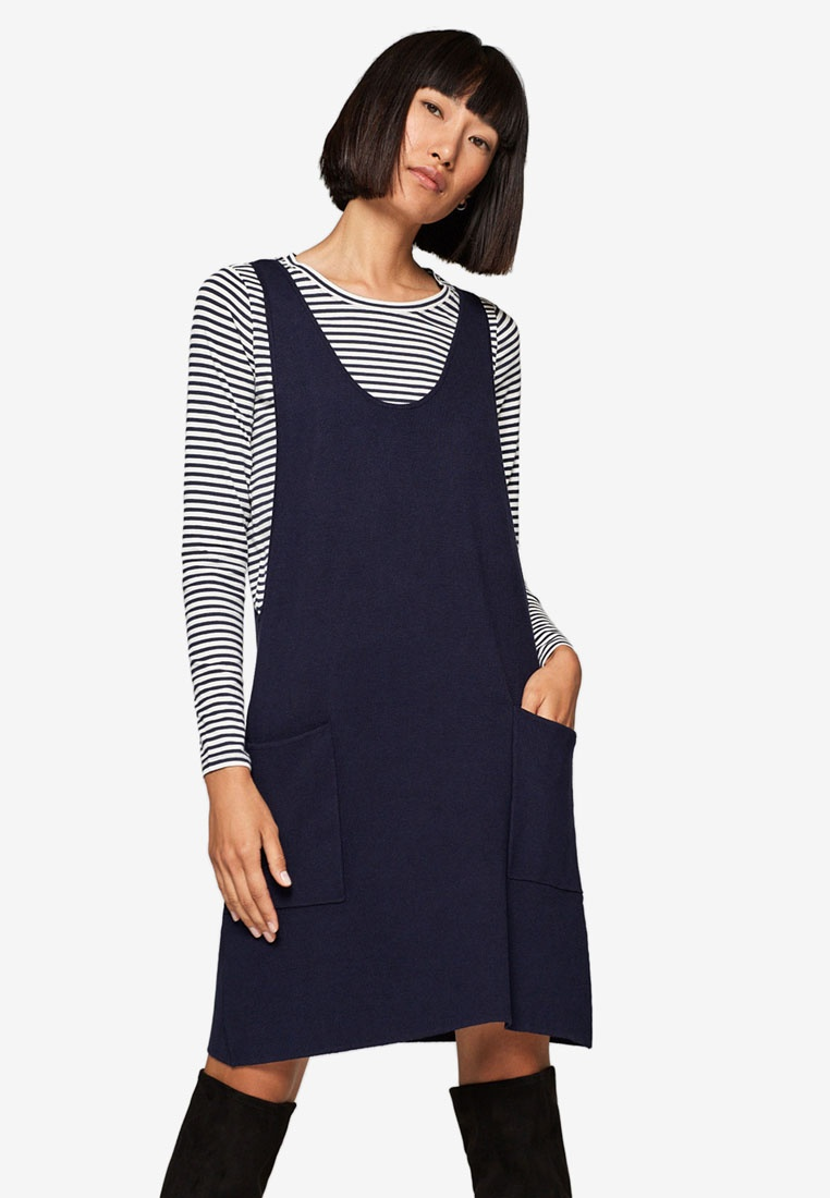 Top Navy Striped ESPRIT 2 in Sleeve 1 A Dress With Long qg8OxvAw