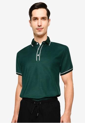 ZALORA BASICS green and multi Short Sleeve Polo Shirt 46625AA7B020BFGS_1
