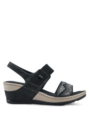 Bata 黑色 鑽飾繞帶楔型涼鞋 C7262SH15AC916GS_1
