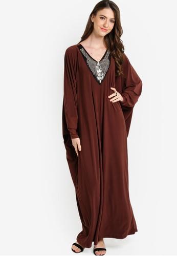 Zuco Fashion brown Beaded Solat Jubah ZU882AA14HCFMY_1
