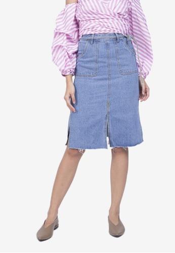 Caoros blue Denim Midi Skirt 0B1E7AA9A71E18GS_1
