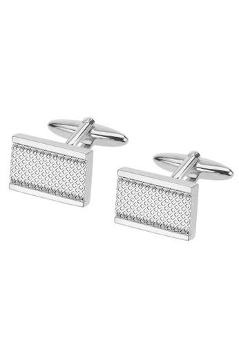 CUFF IT silver Criss Cross Texture Cufflinks CU047AC40SHVHK_1