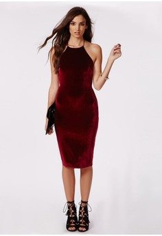 Strappy Velvet Midi Dress