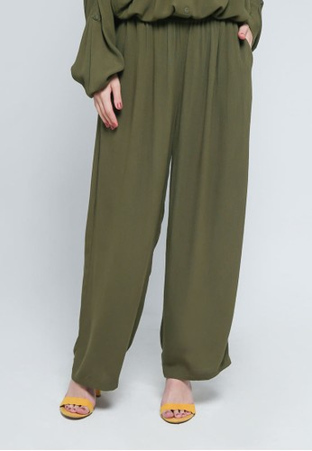9 to 12 green Crinkled Comfy Pants B901DAAC9FC042GS_1