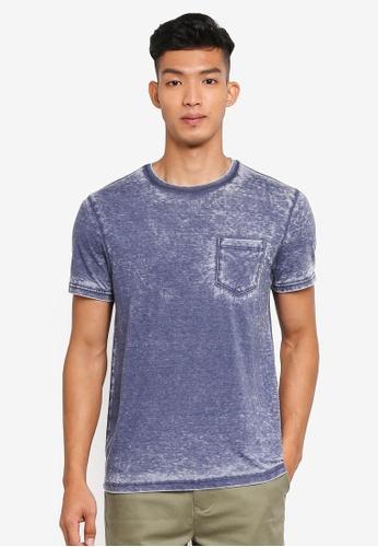Burton Menswear London blue Navy Burnout T-Shirt 9B4E3AA0986B75GS_1