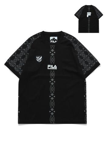 FILA black FILA x White Mountaineering Logo Ethnic Print Cotton T-shirt DB5DBAA9A1B107GS_1