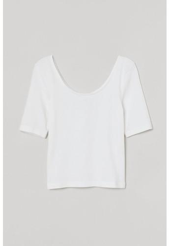 H&M white Jersey top 858CEAA2E52169GS_1