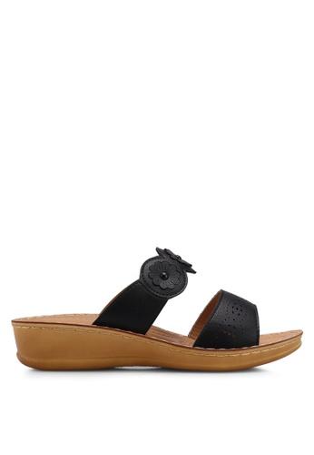 Noveni 黑色 花卉楔型鞋 EED62SH7636F80GS_1