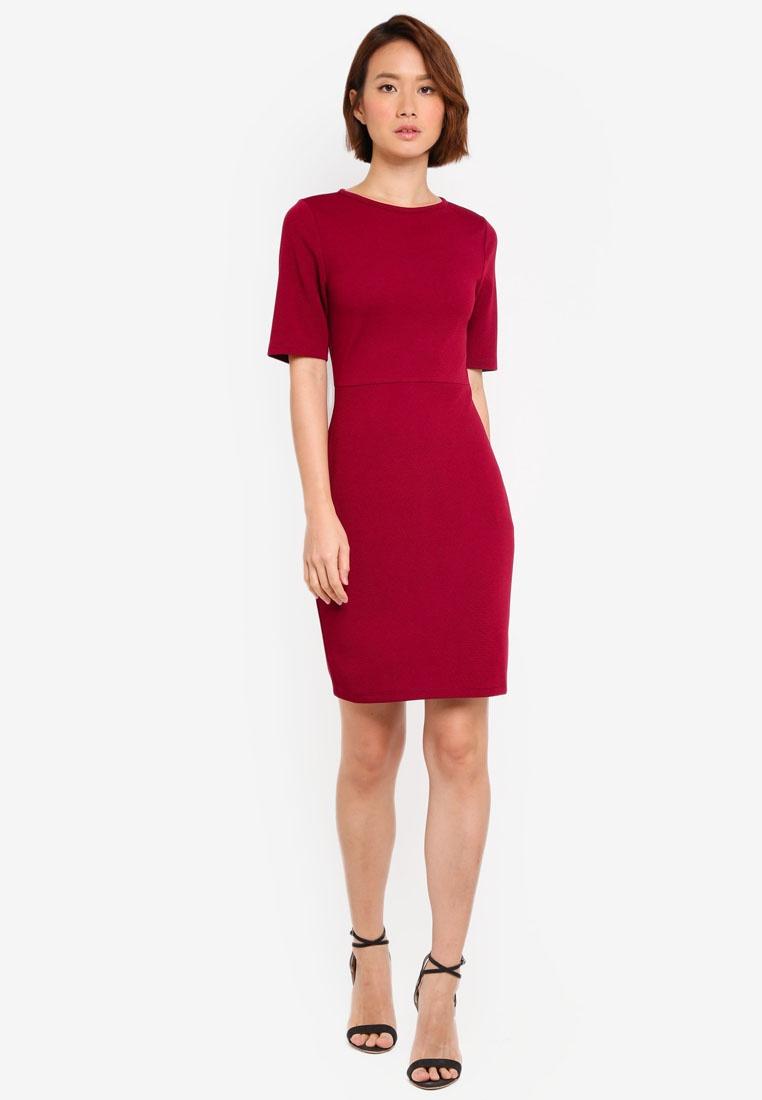 ZALORA Bodycon Dress Dress Midi Burgundy Bodycon Midi wX06CggqS