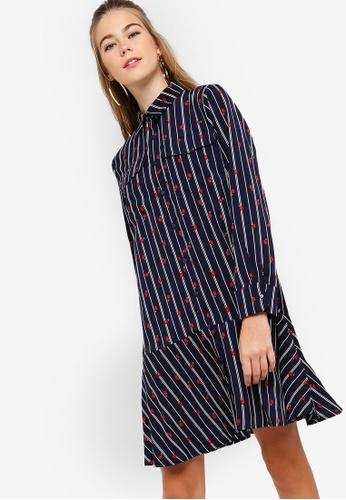 Something Borrowed navy Fluted Hem Shirt Dress 2AC16AAE3BDFA0GS_1