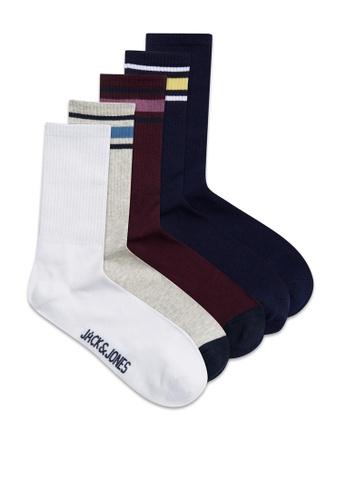 JACK & JONES navy Ivan Sock 5 Pack CEBECAABB96258GS_1