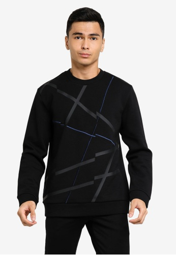 ck CALVIN KLEIN black COTTON SPACER TOP WITH PLASTISOL AND EMBROIDERY 7D504AA88153B7GS_1
