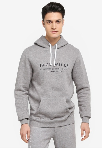 Jack Wills grey Batsford Wills Popover Hoodie 5985CAA42AE854GS_1
