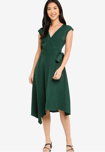 ZALORA BASICS 綠色 Asymmetric Hem Wrap Dress 2C115AA7CF08EAGS_1