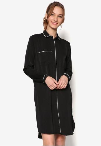 絲綢撞色滾邊長袖esprit 品牌連身睡裙, 服飾, 服飾