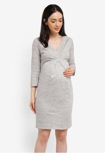 Envie De Fraise grey Maternity Melodia Long Sleeve Dress FBDD6AA8DF7134GS_1