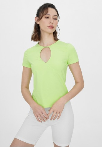 Pomelo green Cut Out Keyhole Neck Tee - Green C9CD8AAC3E7327GS_1