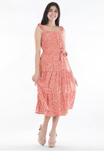 Ninety Nine Point Nine Boutiq orange Sleeveless Flair Maxi Dress C70D1AA6AE738AGS_1