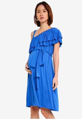 Pietro Brunelli Milano blue Geranio One Shoulder Maternity Dress 71533AA1A3677CGS_1