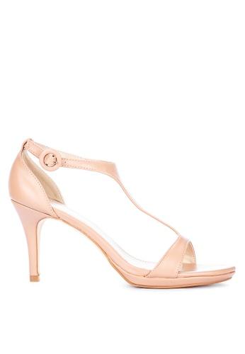 Primadonna beige T-Strap Heeled Sandals A8F43SH6A84FE3GS_1