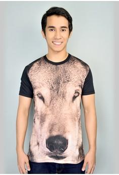 Wolf Head Print Cotton T-shirt