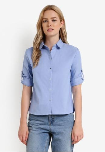 Mango blue Cropped Cotton Shirt MA193AA0RBV9MY_1