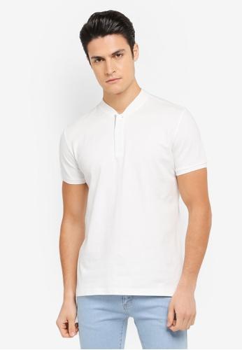 ZALORA white Mandarin Collar Contrast Colour Polo 01BAFAAC637138GS_1