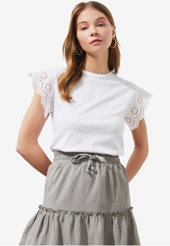 Trendyol white Embroidered Sleeve Detail Top 80263AA3C230DFGS_1
