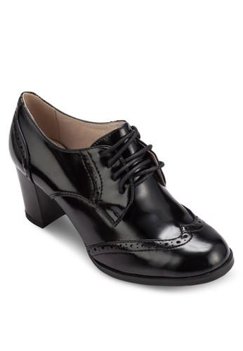 漆皮雕花繫帶粗跟esprit mongkok踝靴, 女鞋, 鞋