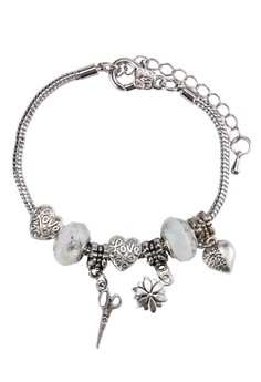 Heart, Leaf and Scissors Charm Bracelet