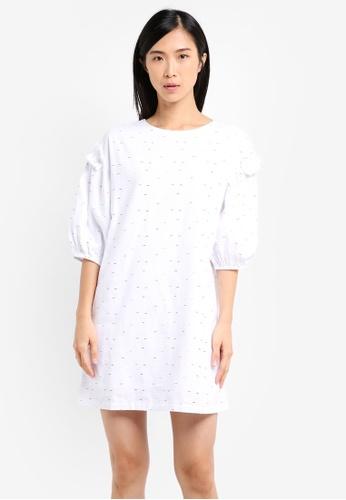 ZALORA white Shift Dress With Balloon Sleeves 0C0FAAADE692ABGS_1
