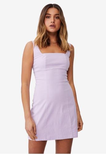Supre purple Capri Fitted Square Neck Mini Dress B8D93AA97EC239GS_1