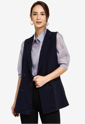 Hopeshow blue Double Button A-Line Vest 14B3AAAE260ACAGS_1