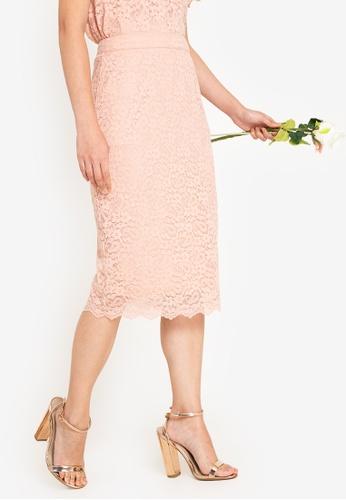 ZALORA OCCASION 粉紅色 伴娘燈芯絨蕾絲裙 1813DAA6BAE763GS_1