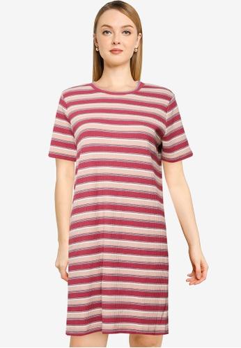 LOWRYS FARM pink Stripe Tee Dress B8E39AA9E29CFEGS_1