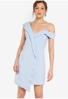 97f31f227a12 Lavish Alice blue Tailored Mini Dress With Button Detail B0F47AA308C907GS_1