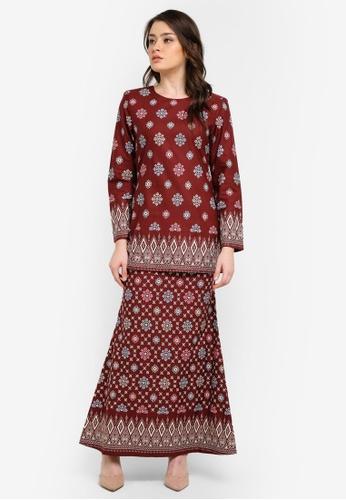 Butik Sireh Pinang brown Aiinia Cotton Short Modern Kurung with Songket Print BU003AA0S26FMY_1