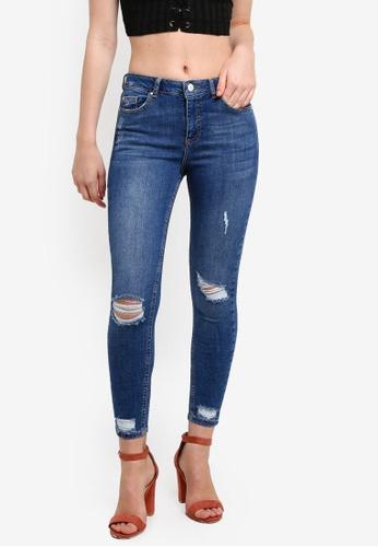 Miss Selfridge blue Petite Busted Hem Lizzie Jeans MI665AA0RF1ZMY_1