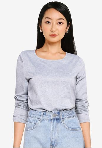 ZALORA BASICS grey Drop Shoulder T Shirt 2584DAA0172C9BGS_1