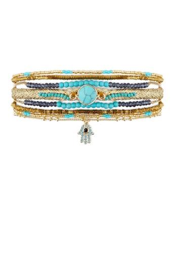 HIPANEMA blue and multi and gold Cuff Diwali Turquoise 47987AC49ABDE5GS_1